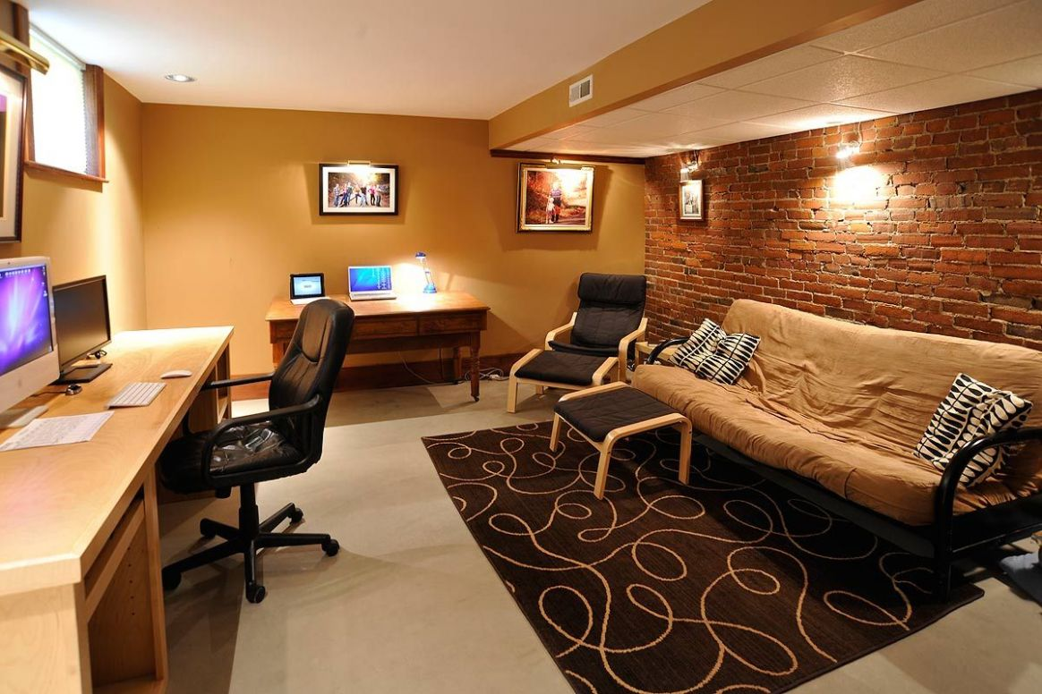 Another cool basement office concept (With images) | House inside ..