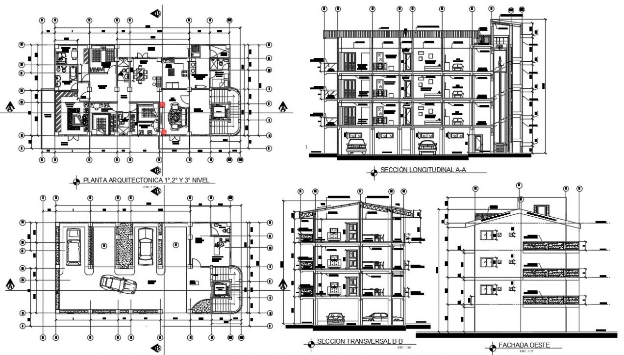 Apartment architecture design plans with detail dimension in DWG ..