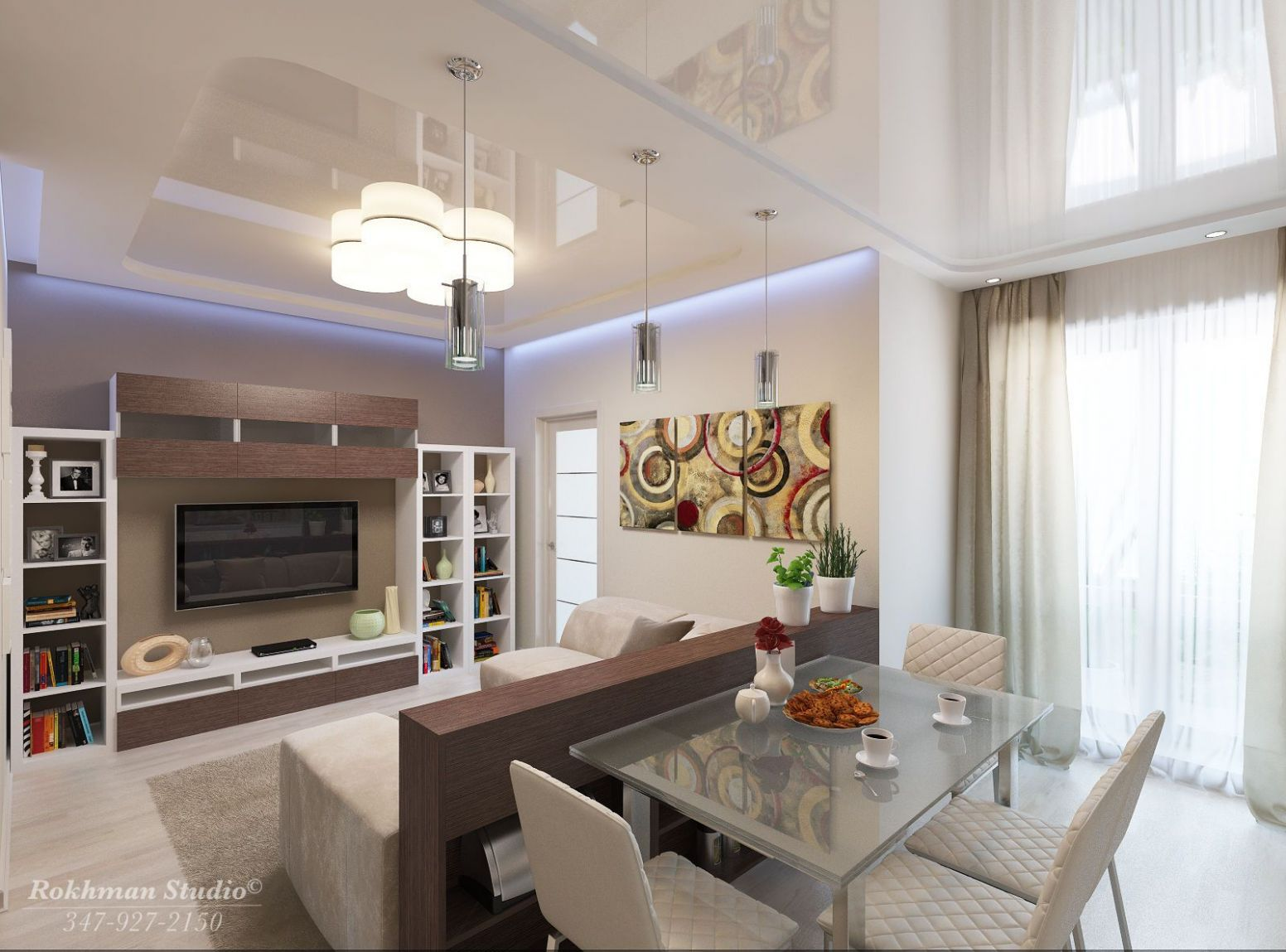 Apartment Living Room Dining Combo   Rendering of Living/Dining ..