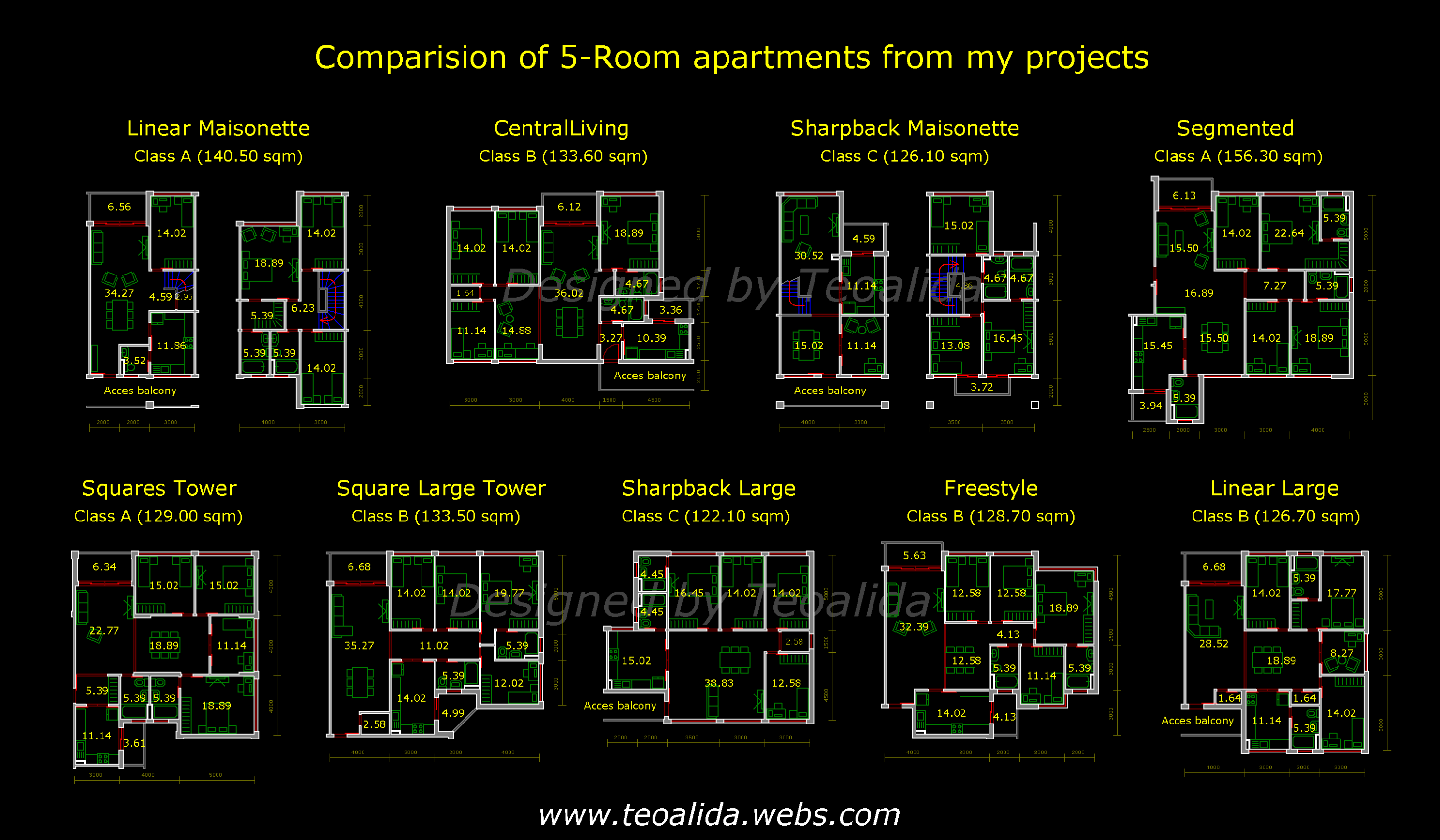 Apartment plans 11-11 sqm designed by me - Teoalida's website
