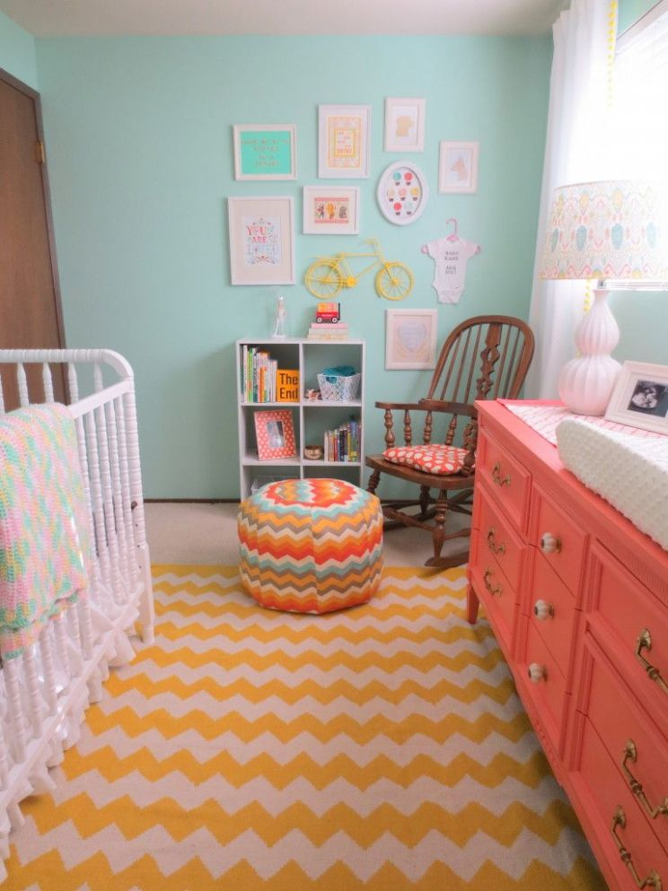 Aqua and Coral Nursery (With images) | Small baby nursery, Girl ..