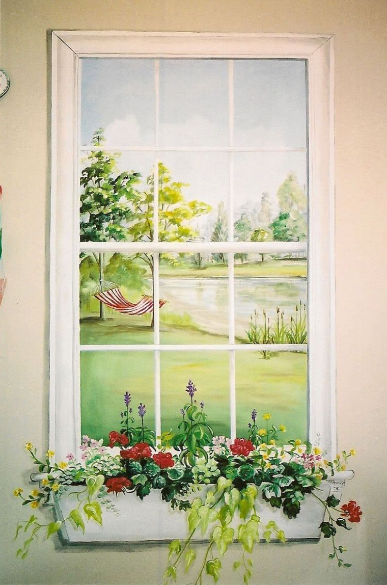 awesome faux mural for the laundry room :) | Window mural, Garden ...