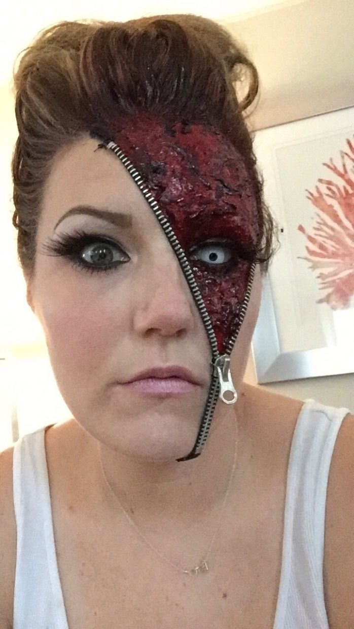 """Awesome """"Unzipped"""" Zipper Halloween Makeup Ideas (With images .."""