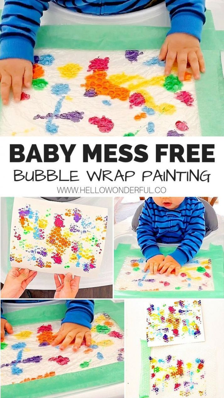 BABY MESS FREE BUBBLE WRAP PAINTING (With images) | Mess free ...