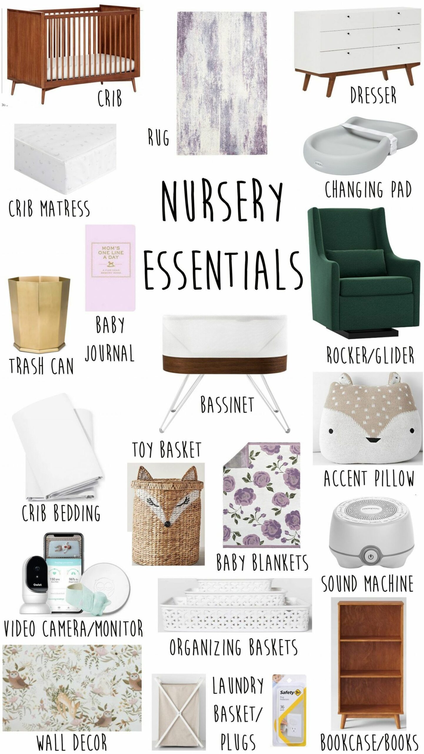 Baby Nursery Essentials + Checklist (With images) | Nursery ...