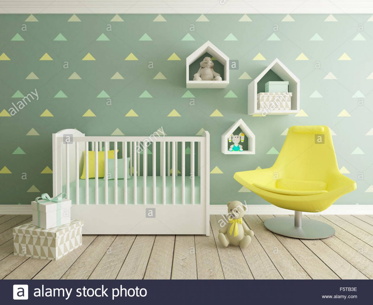 baby room interior, nursery, 9d render Stock Photo: 9 - Alamy - baby room yellow and green