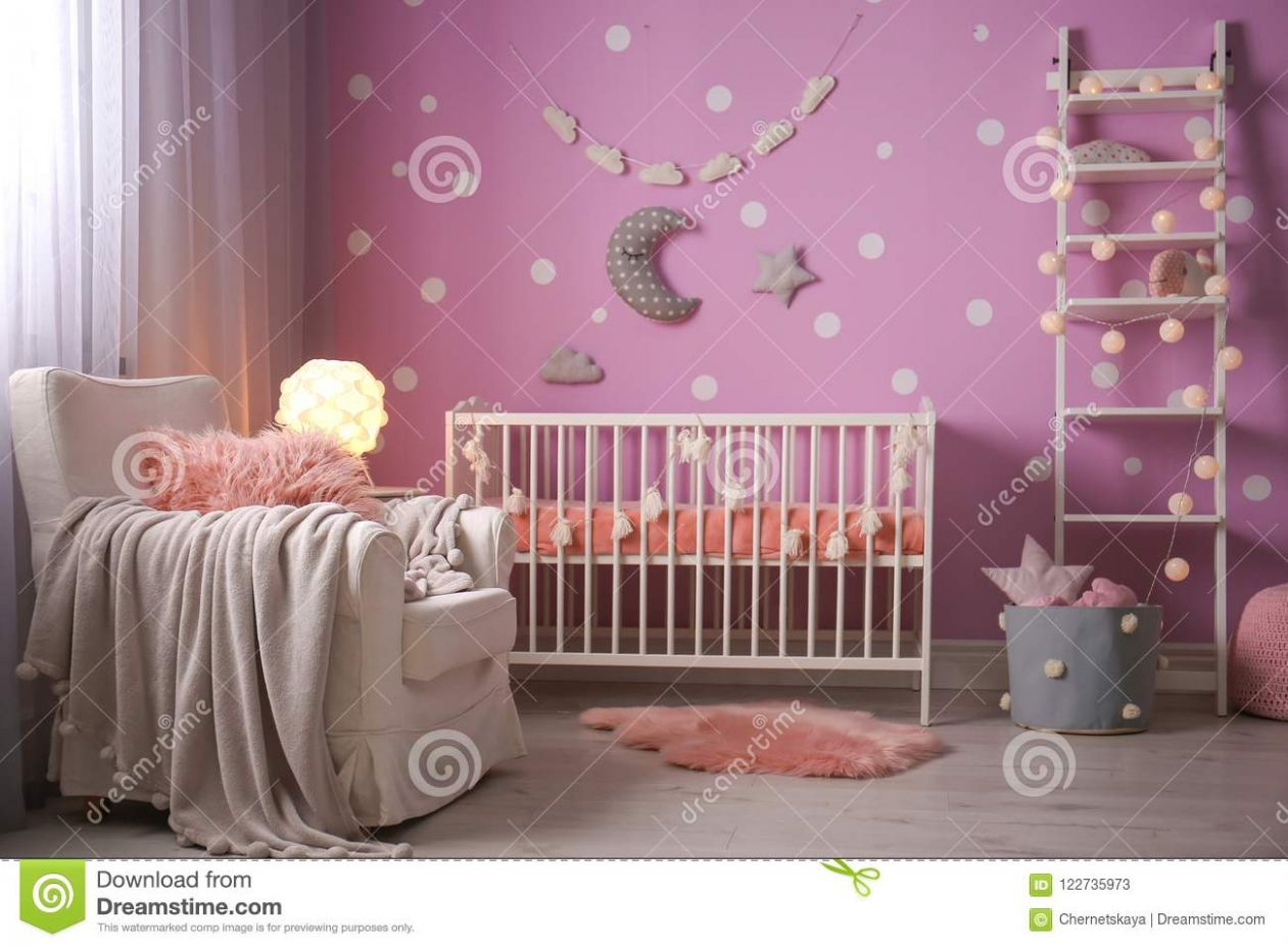 Baby Room Interior With Crib Near Wall Stock Image - Image of ..