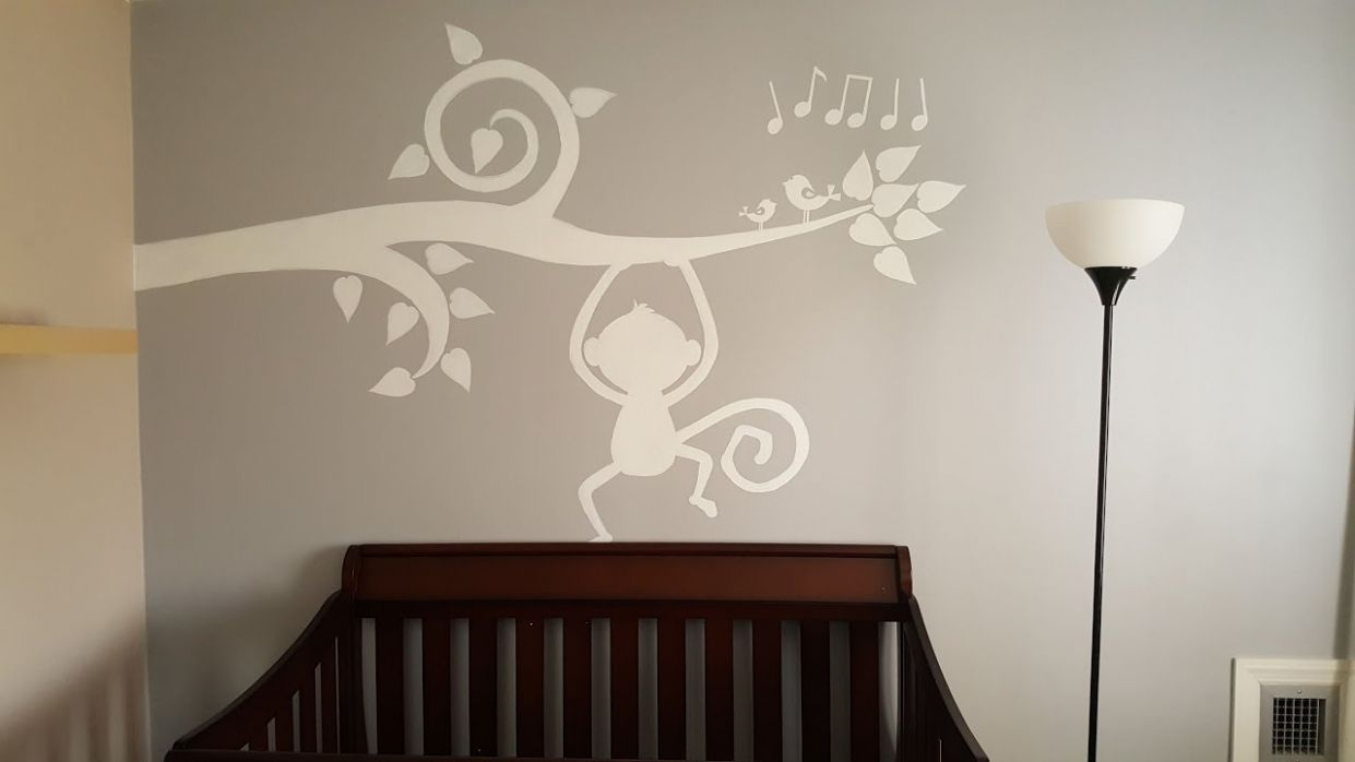 Baby Room Wall Painting Timelapse - Tree branch and Monkey