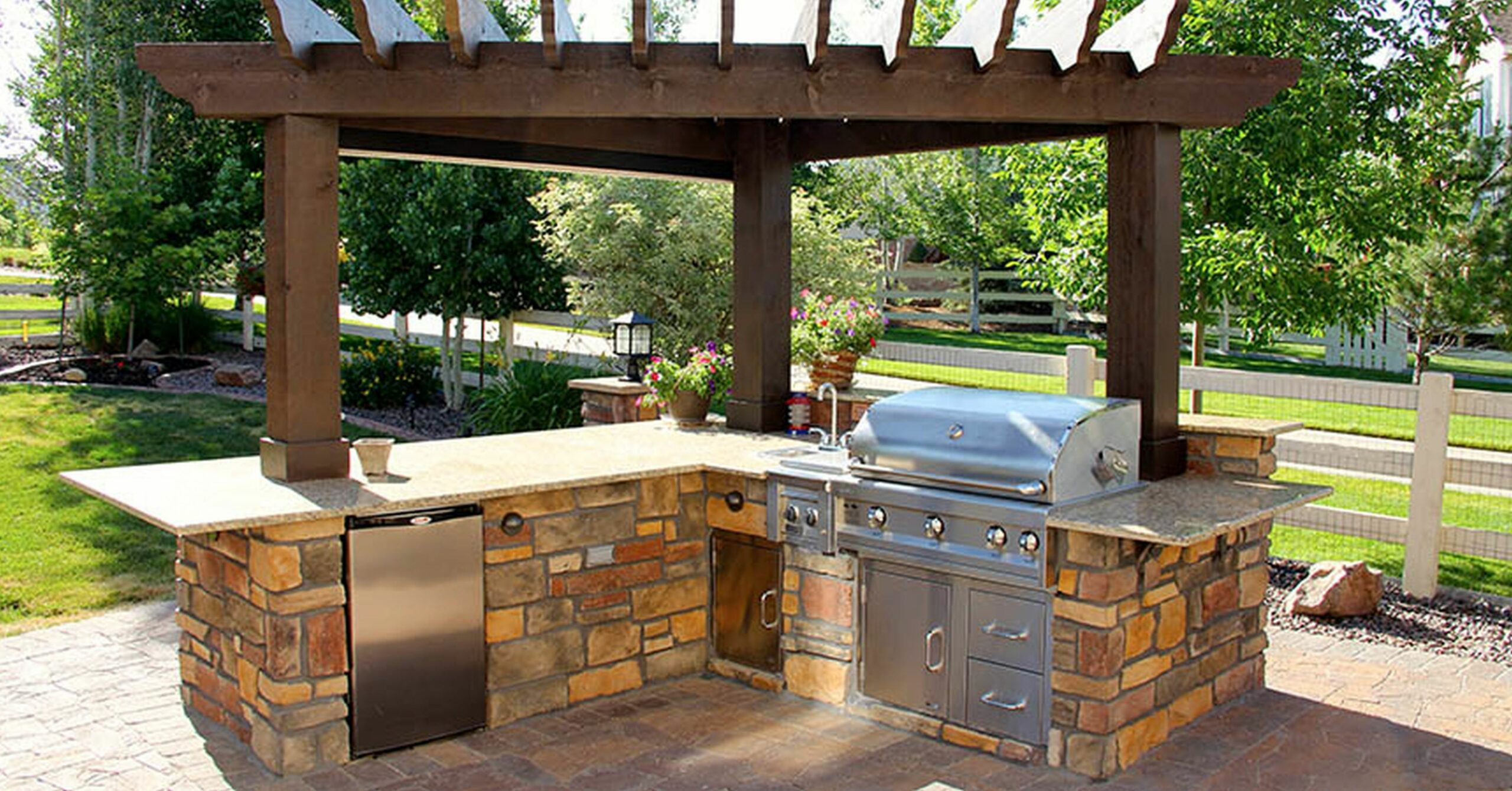 Backyard Patio Design With Pool Luxury Grill In Ground Simple ..