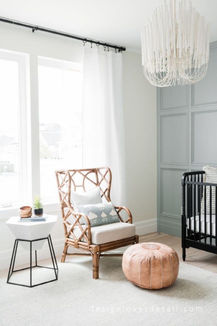 Bamboo chair in nursery with leather ottoman. Such a cute space ...