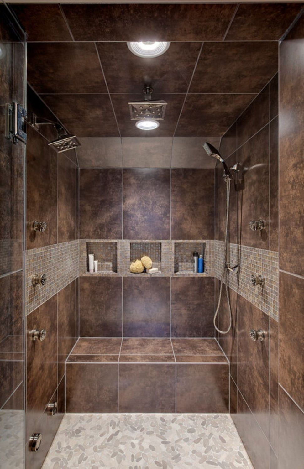 Bathroom, Small Square Wall Niches Mixed With Brown Tile Bench In ..