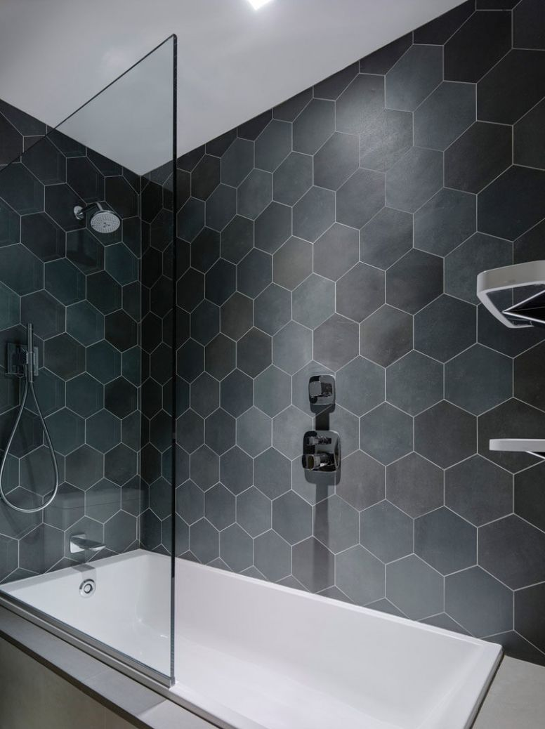 Bathroom Tile Ideas - Grey Hexagon Tiles - bathroom ideas grey tiles