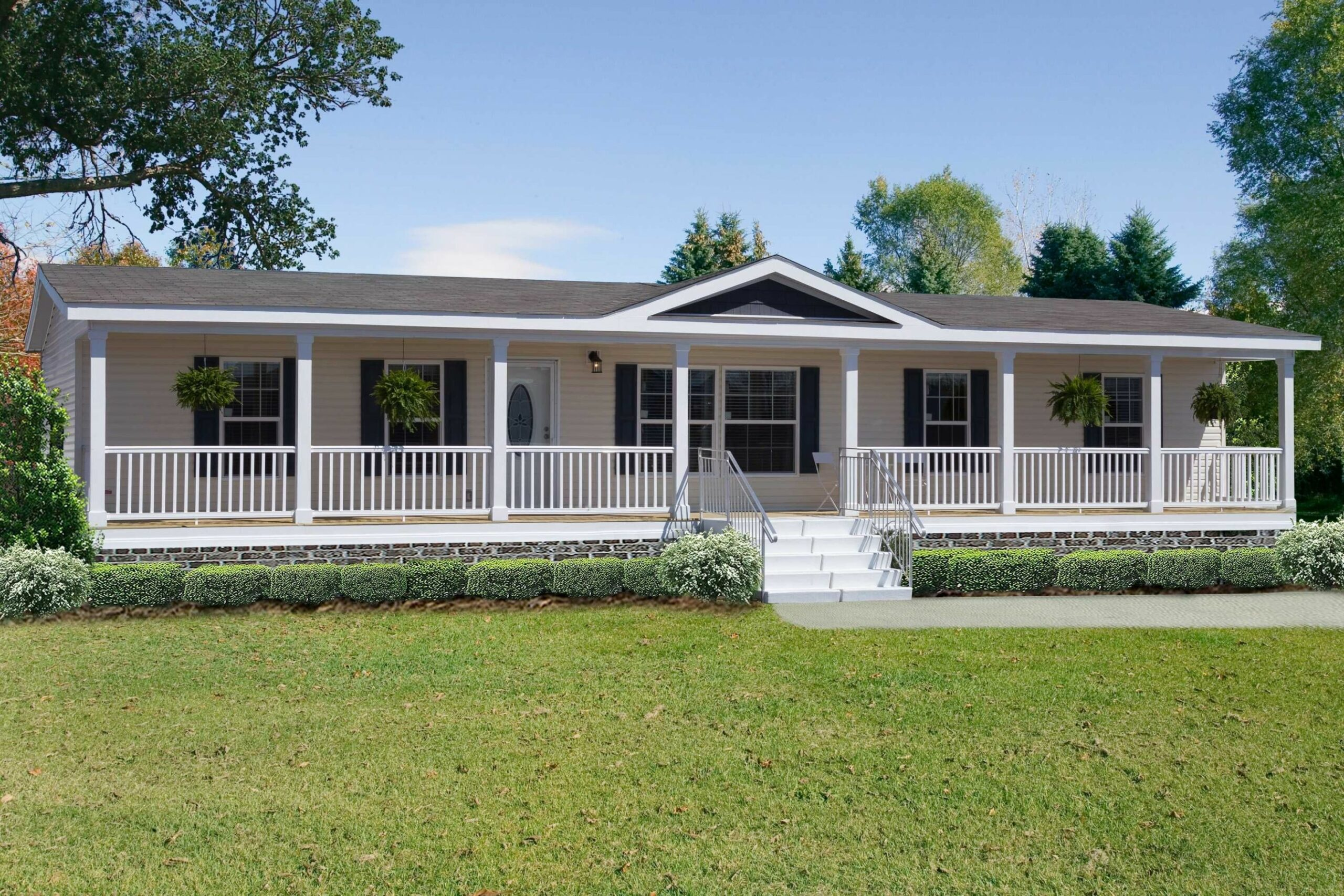 Beautiful Ranch Style Front Porch Modular Homes | Mobile home ..