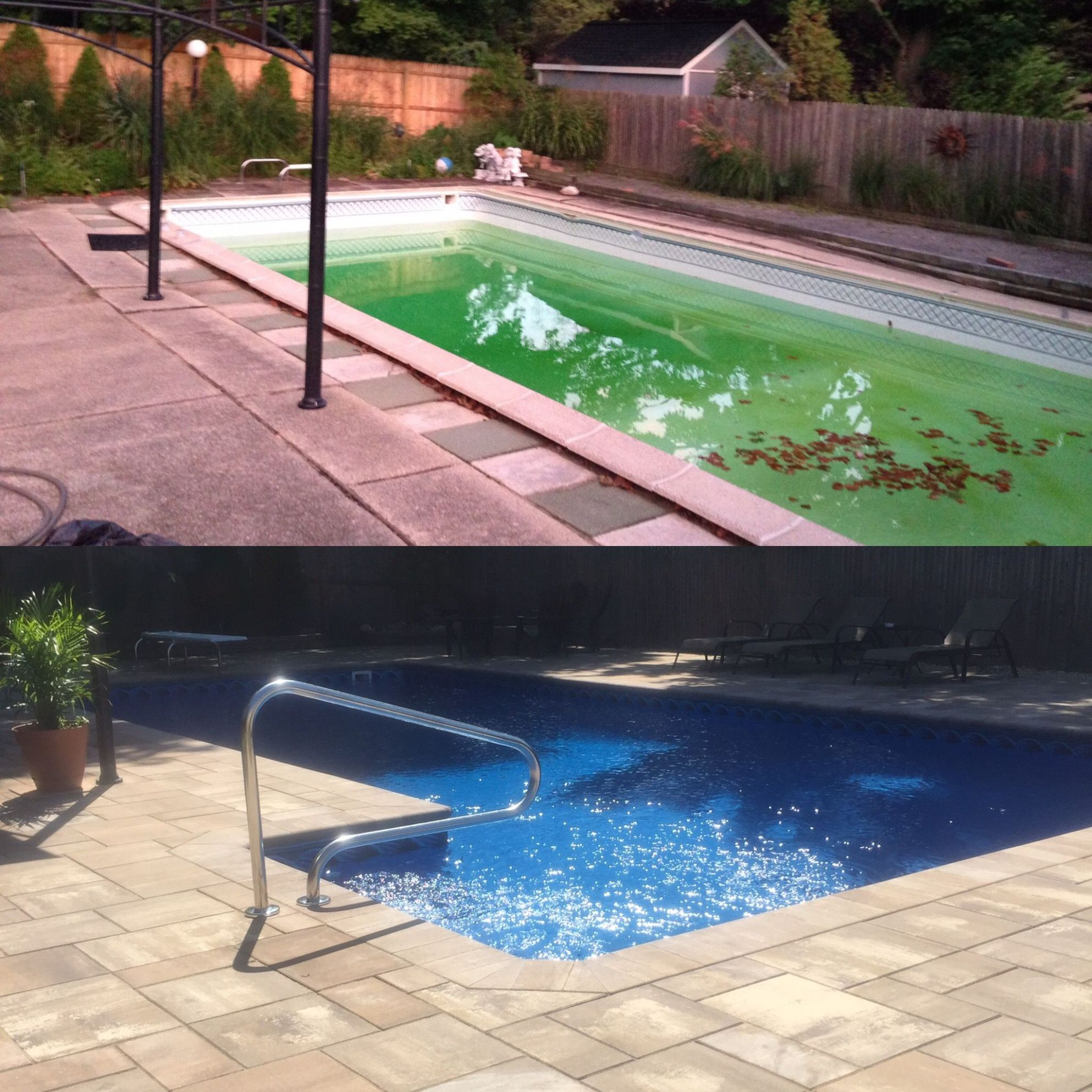 BEFORE AND AFTER: Cambridge Ledgestone Pavers XL Smooth | Pool ..