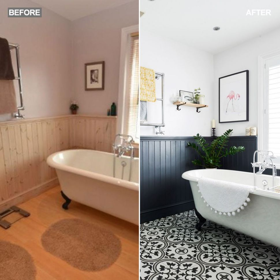 Before and after: this bathroom went from dated to statement ..