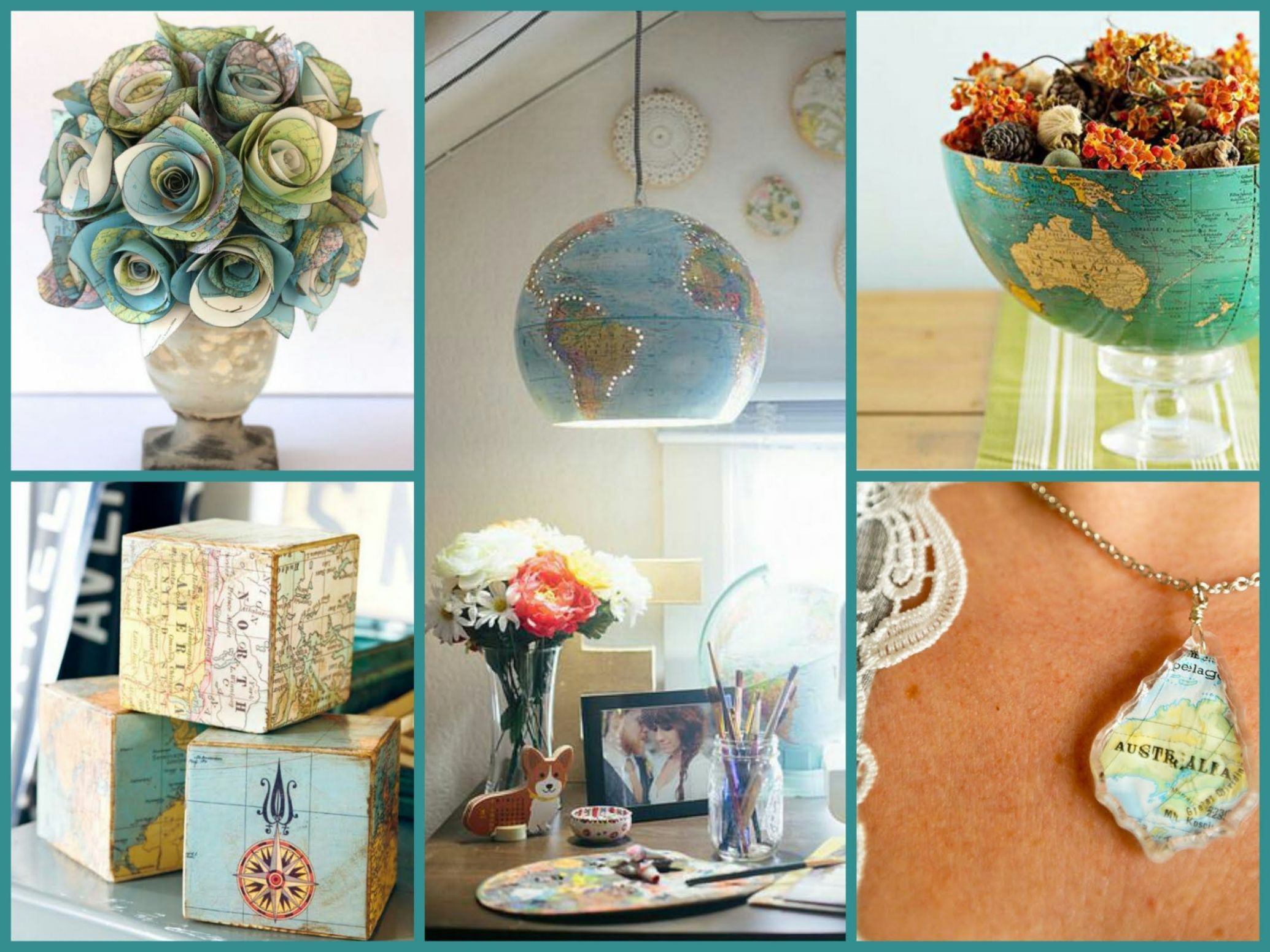 Best DIY Recycled Map Crafts - DIY Globe Decor Ideas Recycled Home ..