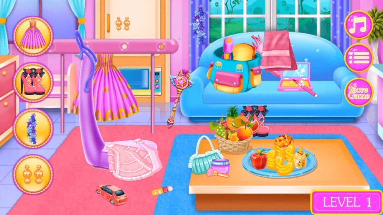 Best Game For Kids - Princess Dressing - Cleanup Room - Makeup and Dress up  Girl - makeup room game