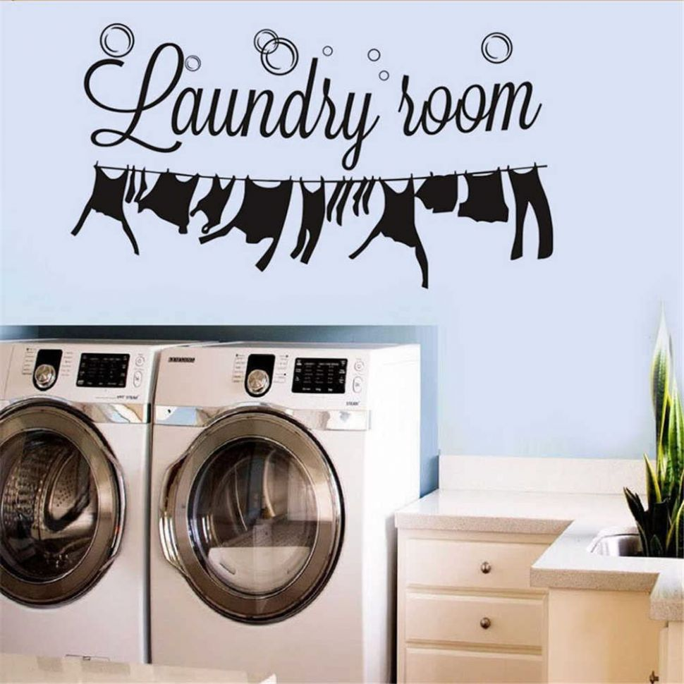"BIBITIME Laundry Room Vinyl Decal Bubble Wall Decor Dangling Clothes  Silhouette Sticker for Washhouse Bathroom Window Tile 10.10"" x 10"