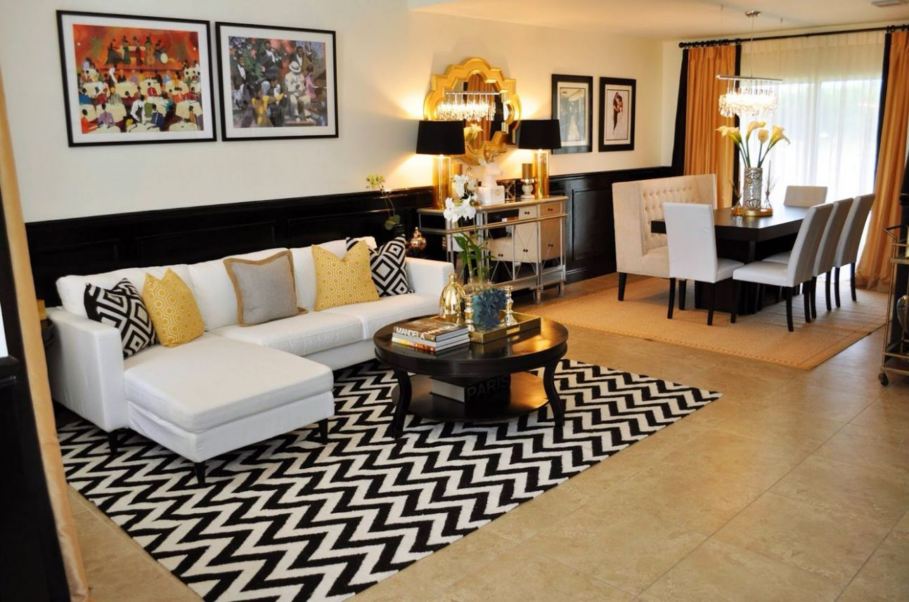 black & white apartment with gold accents (With images) | Black ..