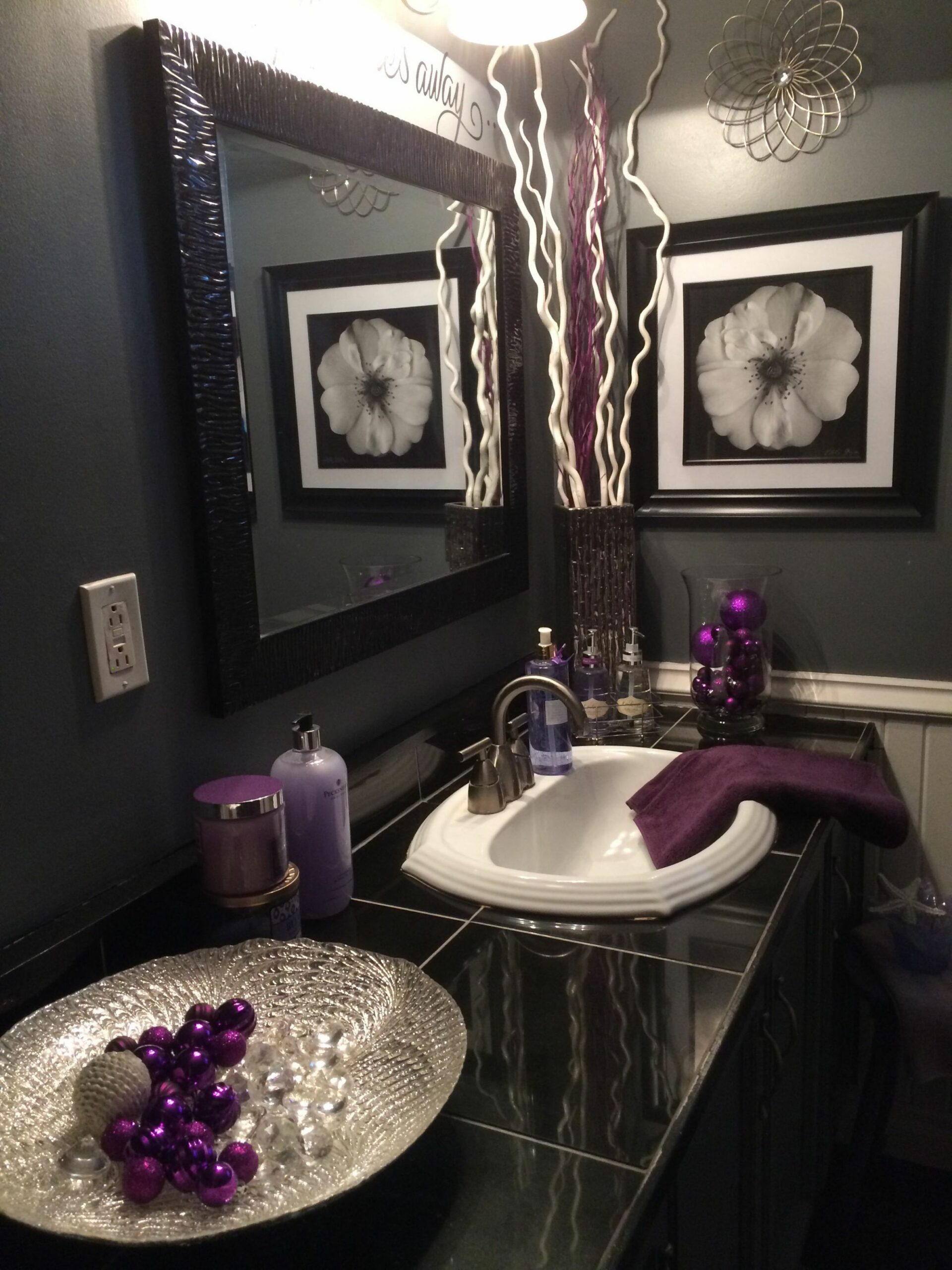 Black and grey bathroom with lavender accents (With images ..