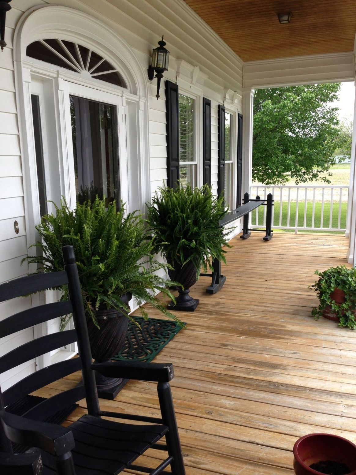 Black and white porch | Front porch decorating, Front porch design ..