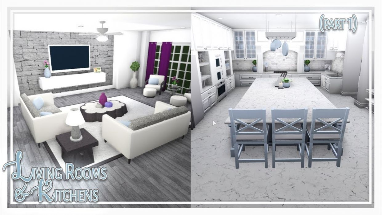 Bloxburg || Living Room & Kitchen Build (Part 11 of 11) - living room ideas bloxburg