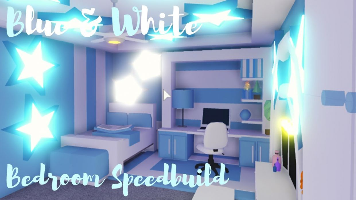 Blue&White BEDROOM SPEEDBUILD ♡Adopt me Roblox