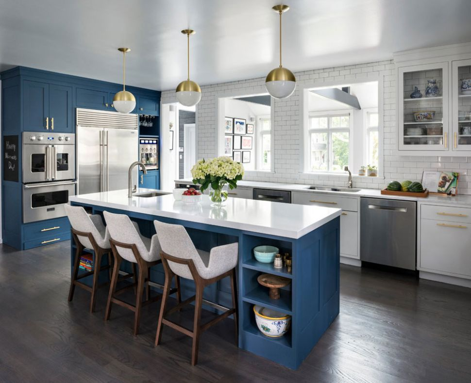 Blue Kitchen Ideas: Cabinets, Walls, and Counters - kitchen ideas blue cabinets
