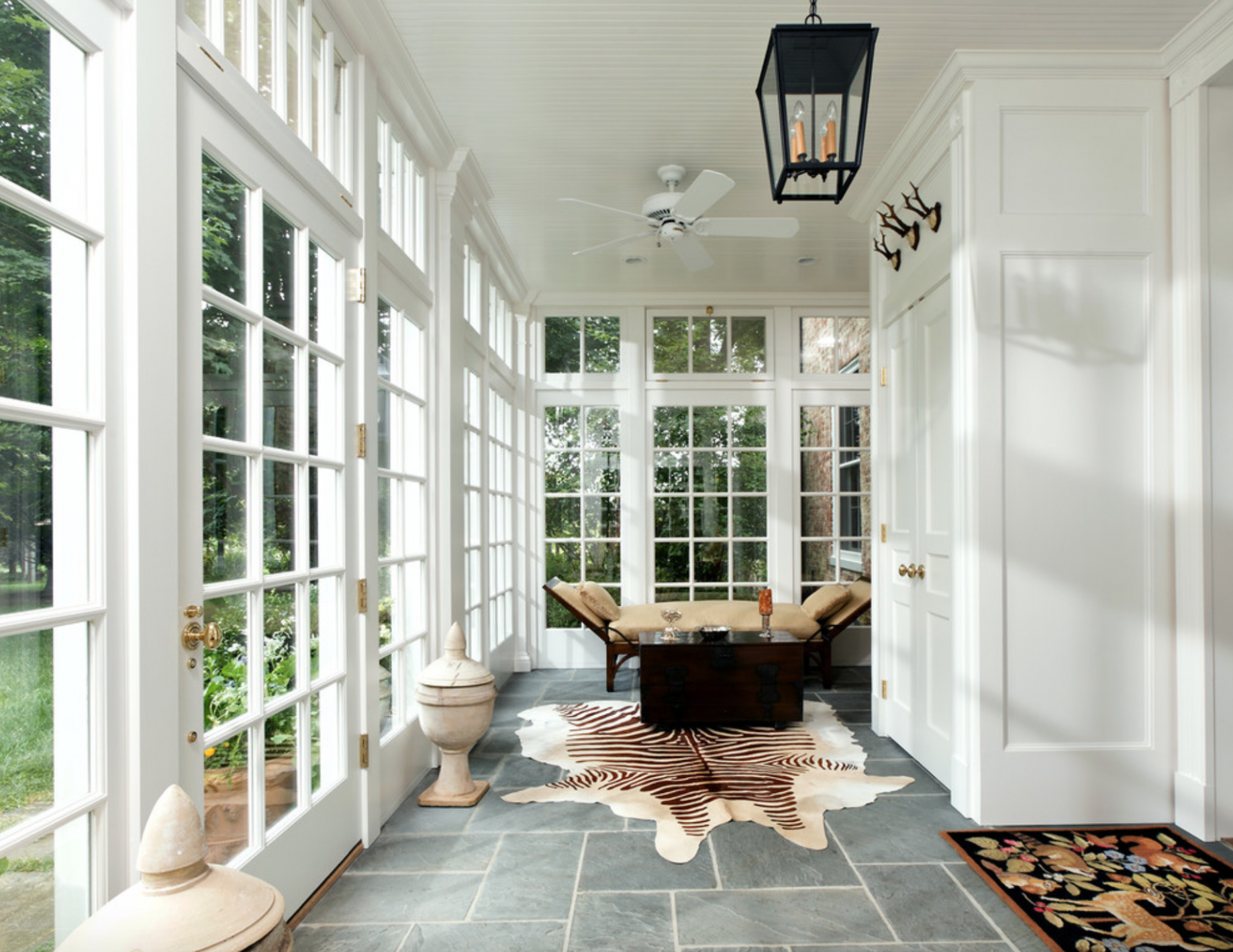 Bluestone tile, glass windows, hall (With images) | Sunroom ...