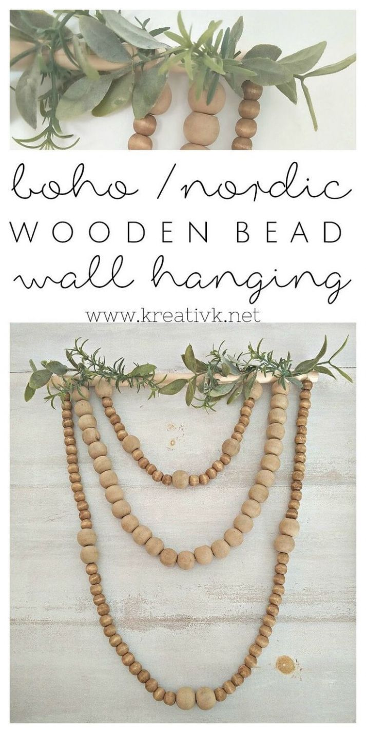Boho Nordic Wooden Bead Wall Hanging (With images) | Wooden bead ...