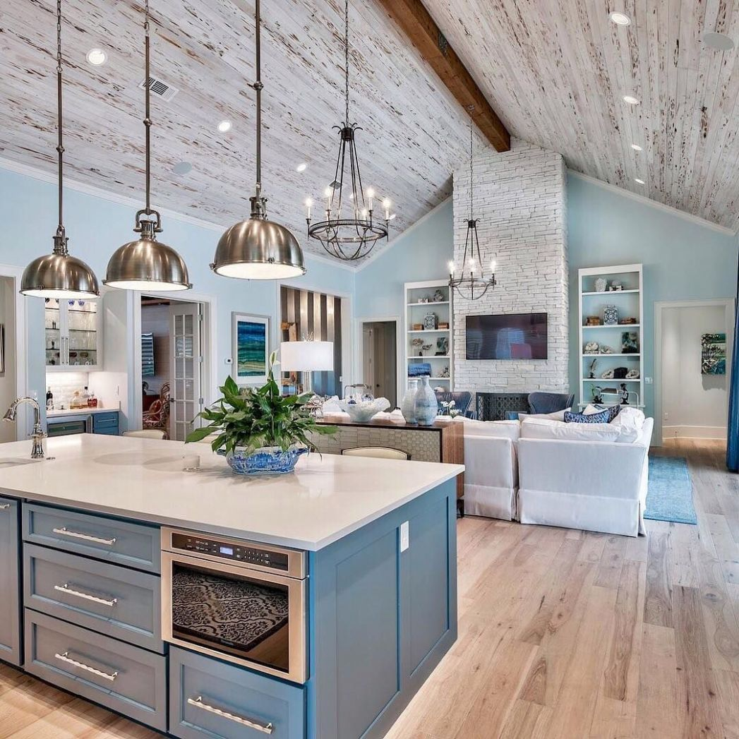 Brown and Blue Kitchen Ideas | Open concept kitchen living room layout - kitchen ideas open concept