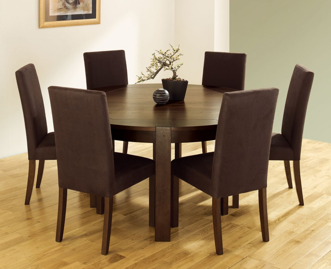 brown wooden round dining table oak dining room chairs | Dreamehome - dining room ideas brown