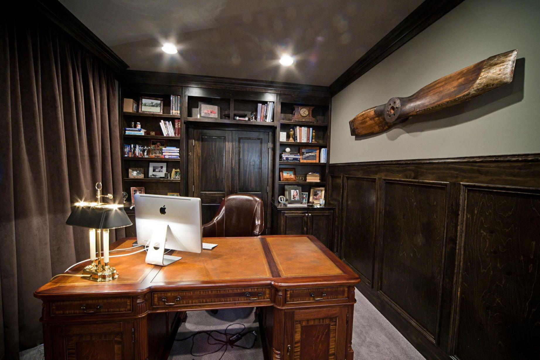 By Dark Wood And Chocolate-Brown Hues, This Masculine Office ..