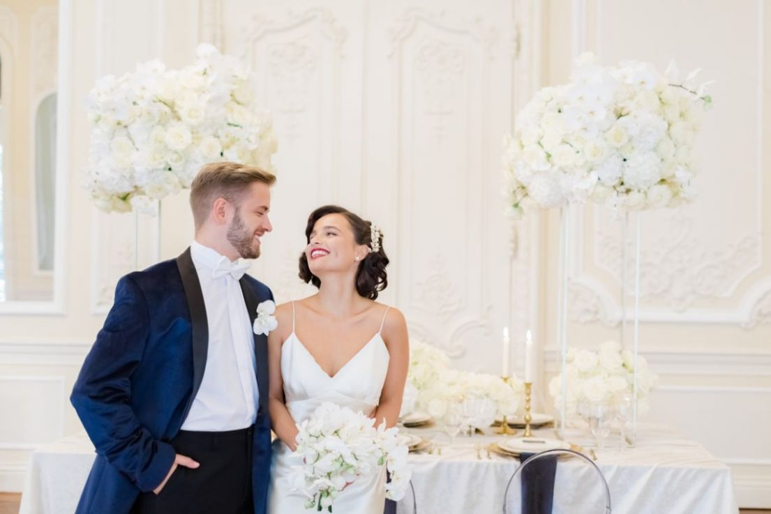 Chic White and Navy Wedding Inspiration at 11-11 Carlton House ..