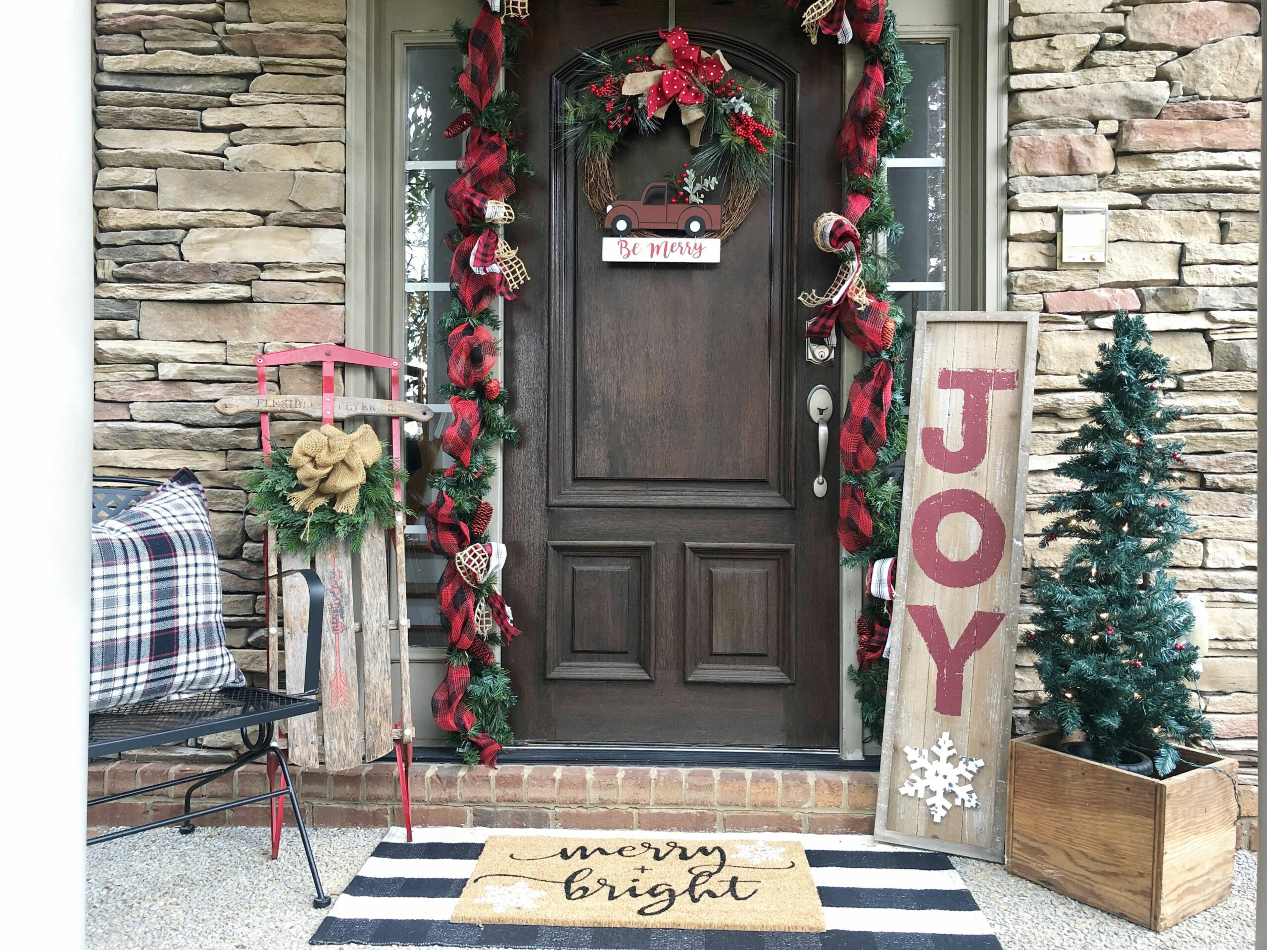 Christmas front porch with Kirkland's decor | Wilshire Collections
