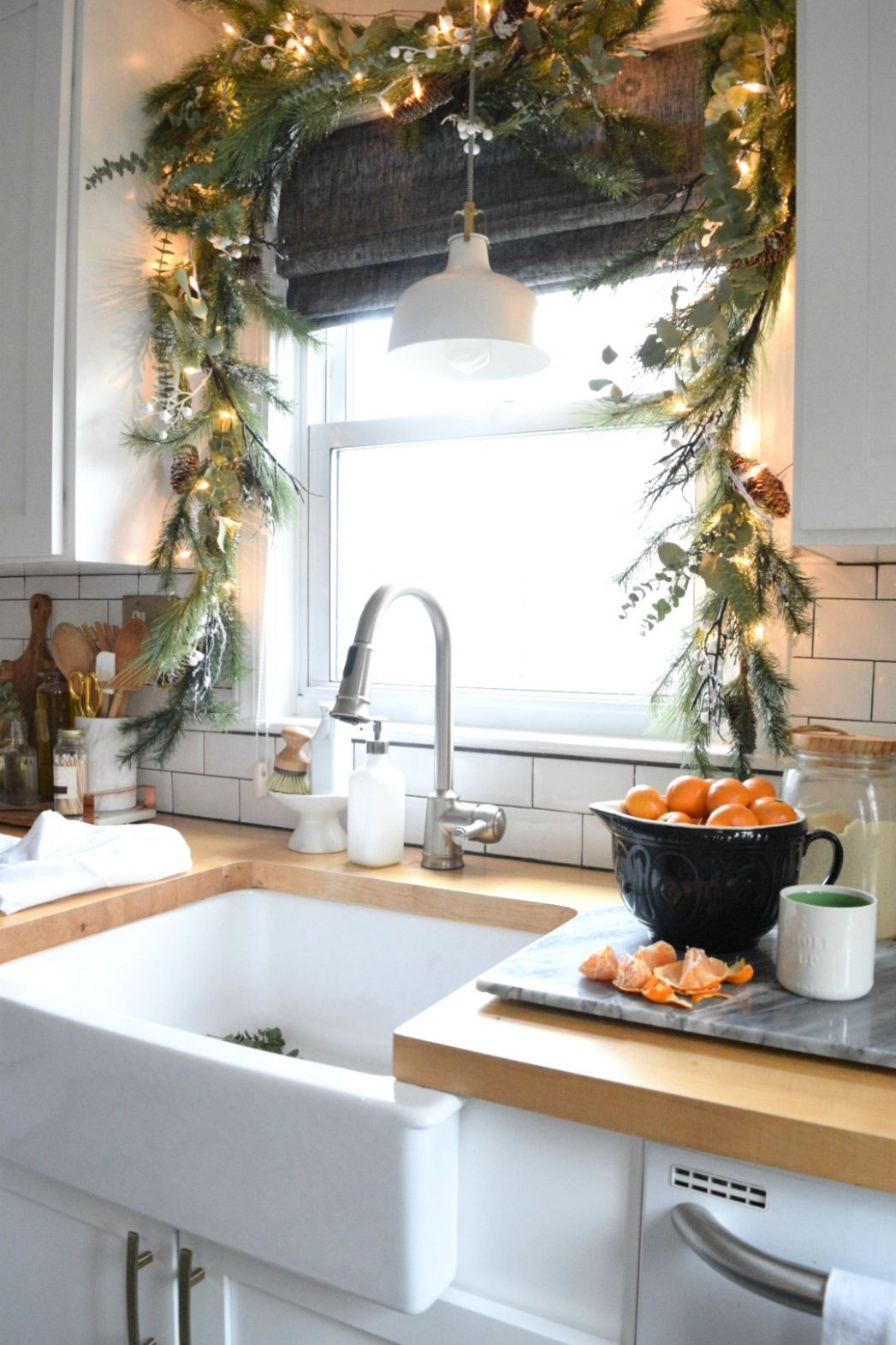 Christmas in our Small Kitchen- Started with Christmas Garland ..
