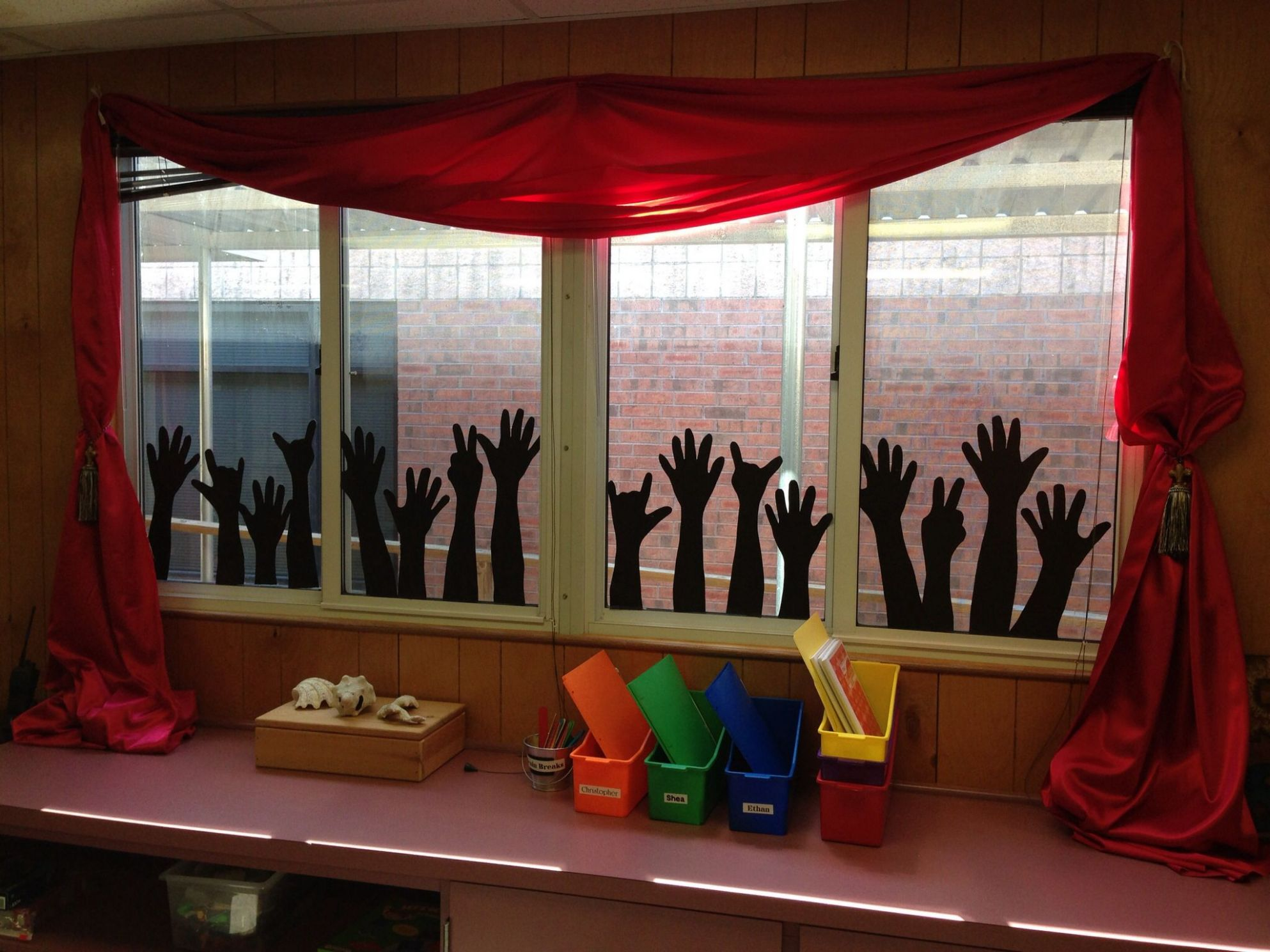 Classroom window art. Rock and roll. - have some of the hands ...