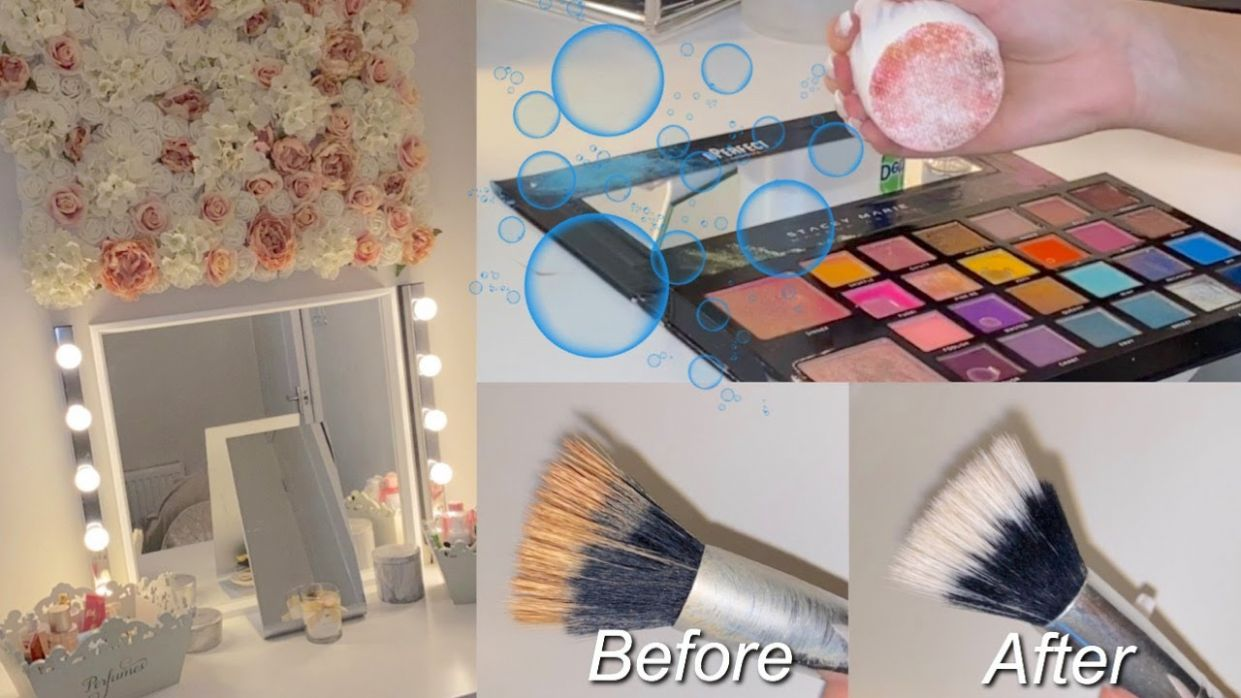 CLEAN MY MAKEUP KIT & ROOM WITH ME - BRUSHES, PALETTES & MORE | ELLE JAMES  MAKEUP #cleaningmakeup - makeup kit room