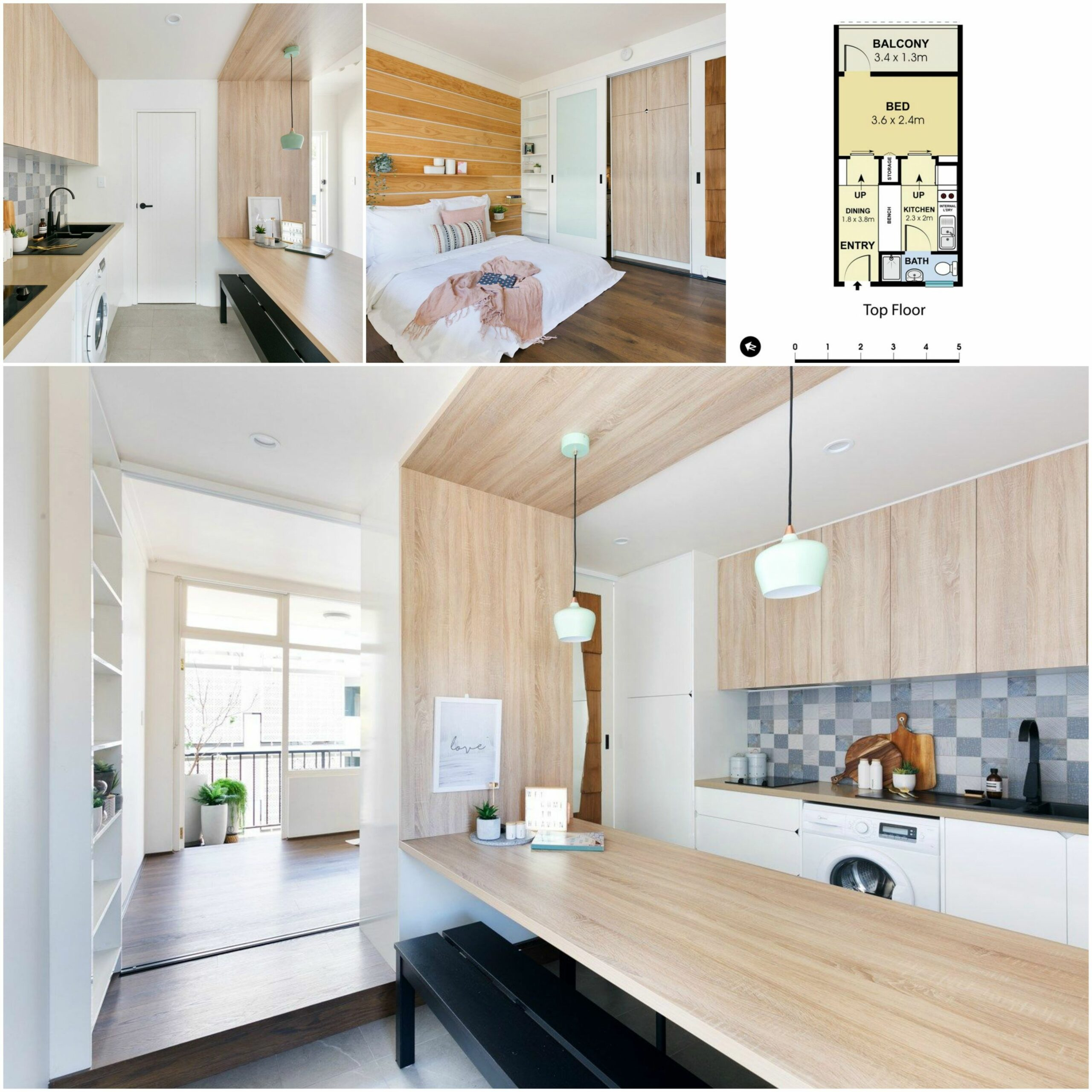 Clever and smart interior design for this small studio Apartment ...