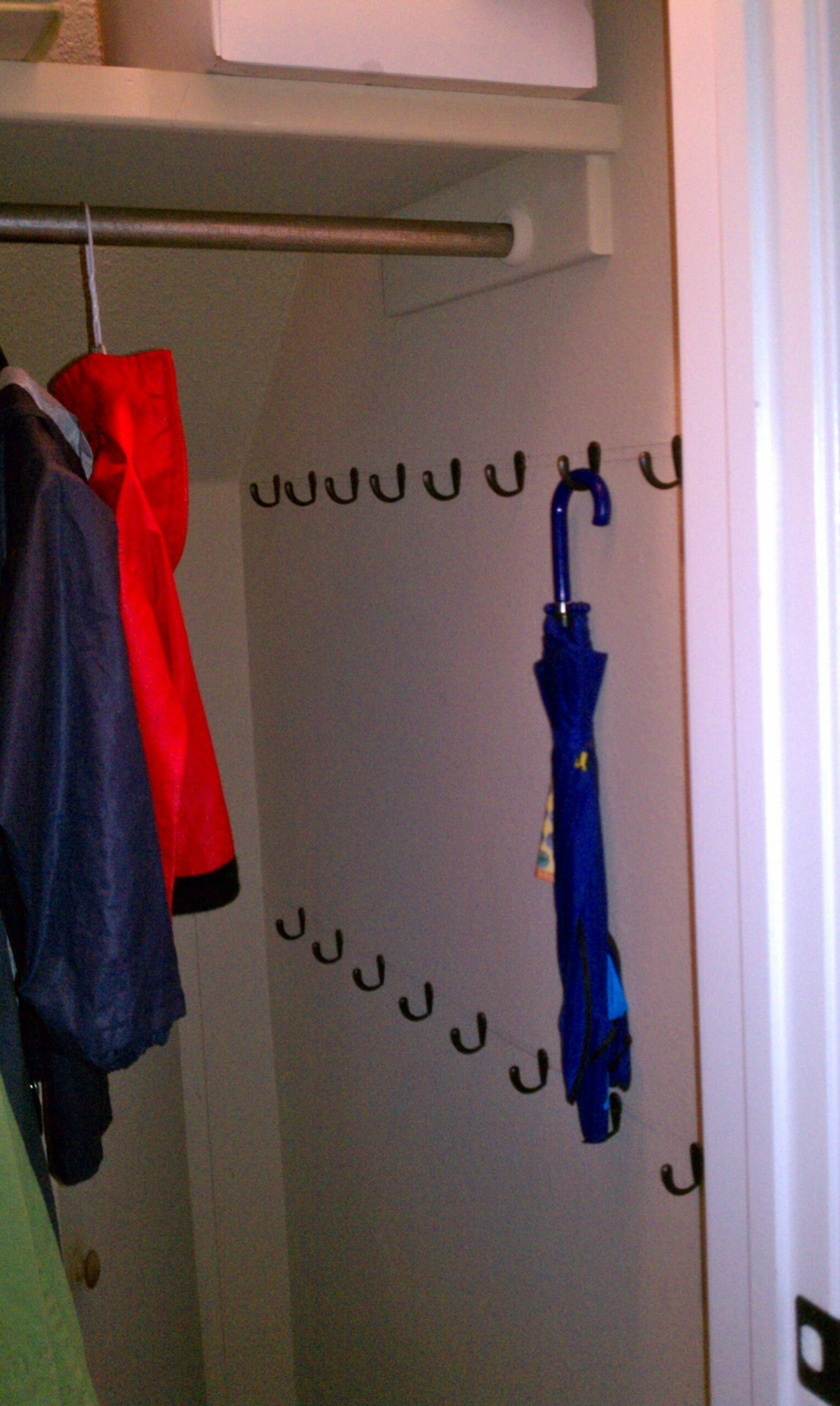 closet #storage We added LOTS of hooks in the coat closet to ..