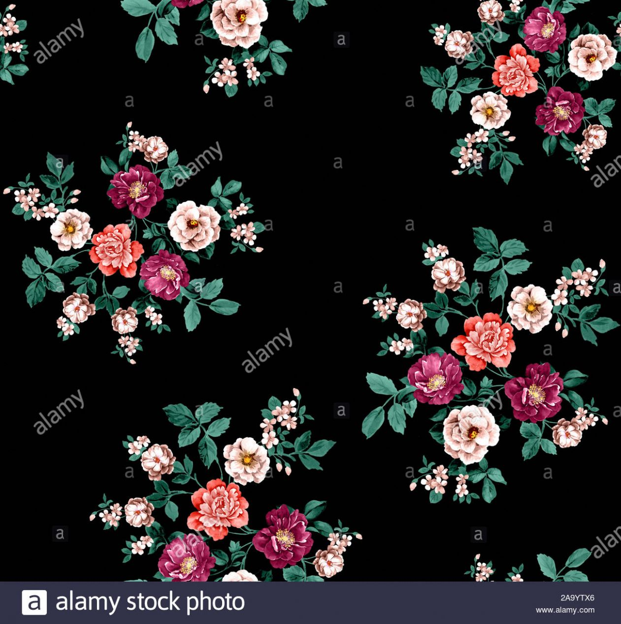 Colorful seamless floral pattern Drawn decorative flowers pattern ..