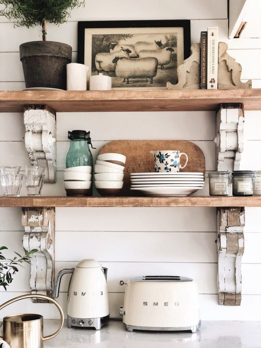 Cottage Style Kitchen Shelves – To Paint or Stain?! | Kitchen ..