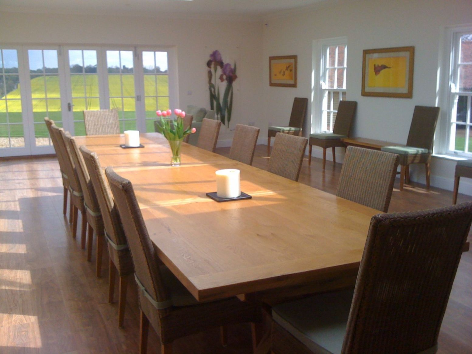 Country Oak 9.9m Cross Leg Double Extending Large Dining Table ..