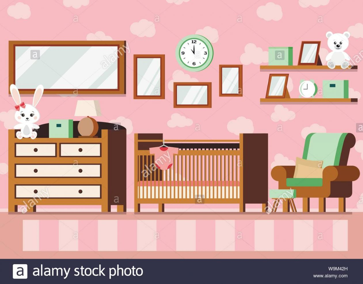 Cozy girl s baby room interior pink color background Stock Vector ..