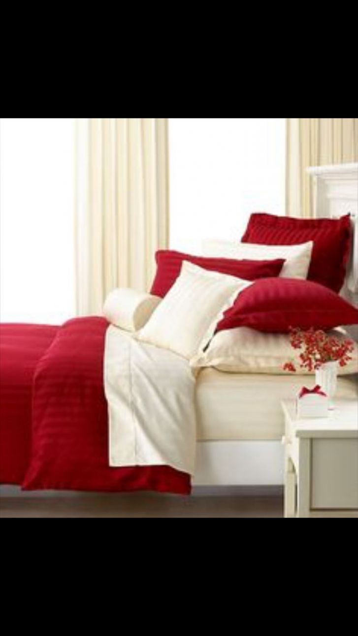 Cream and red bedroom idea | Bedroom red, White bedroom, Master ..