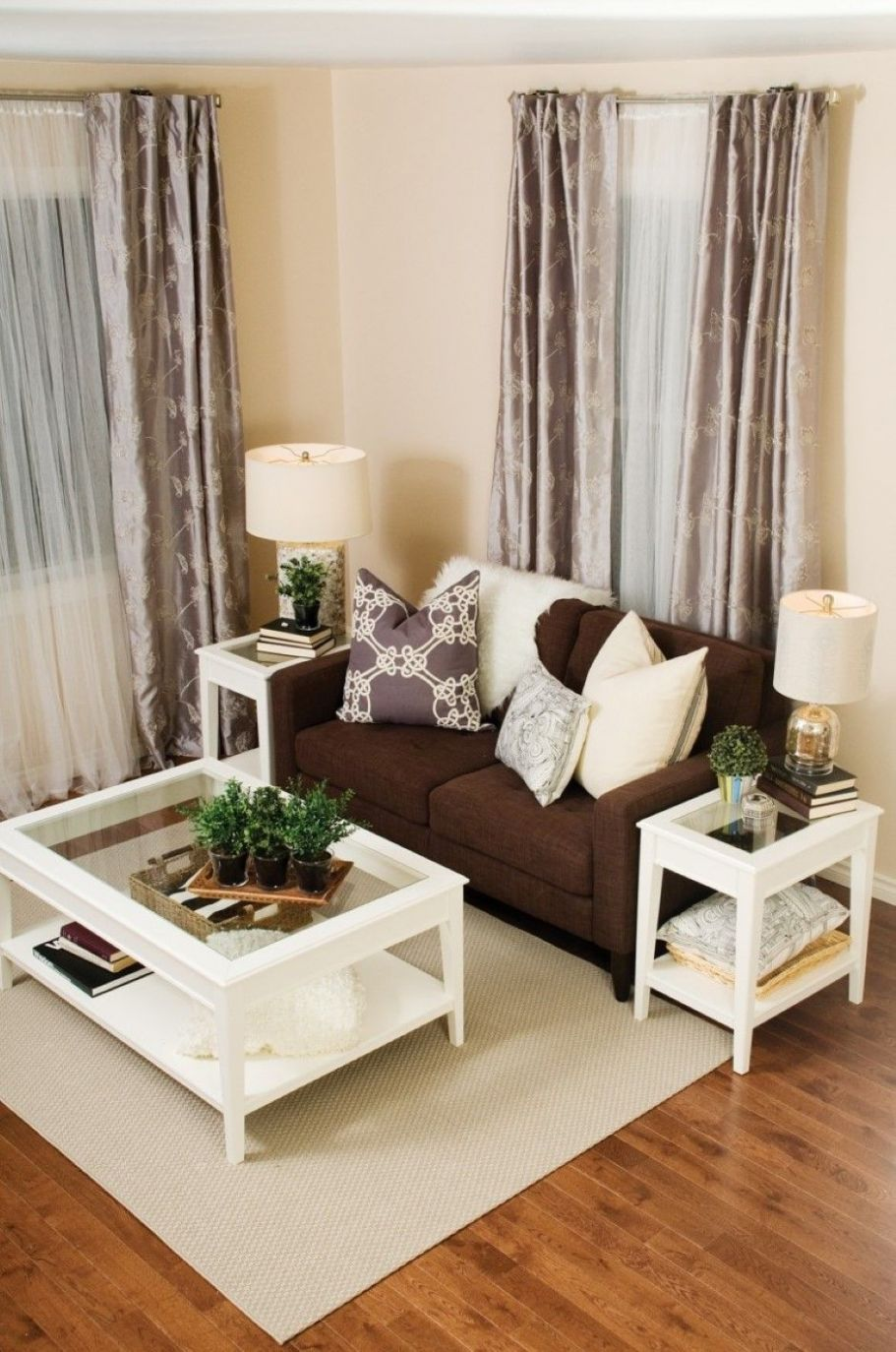 cream white living room and metallics decor | Elegant Brown Sofa ...
