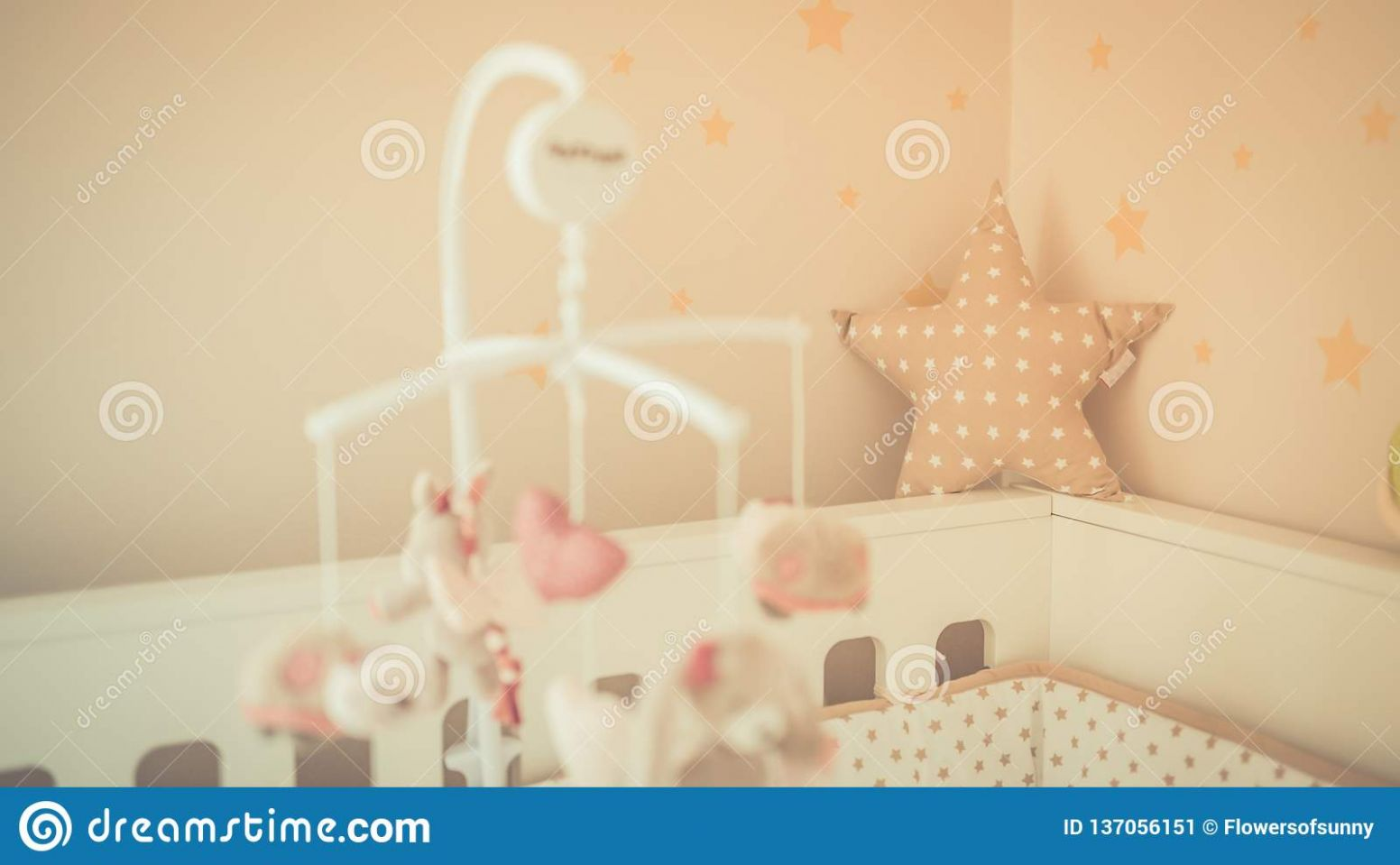 Cute Baby Room And Baby Cage Background. Details And Vintage Toned ..