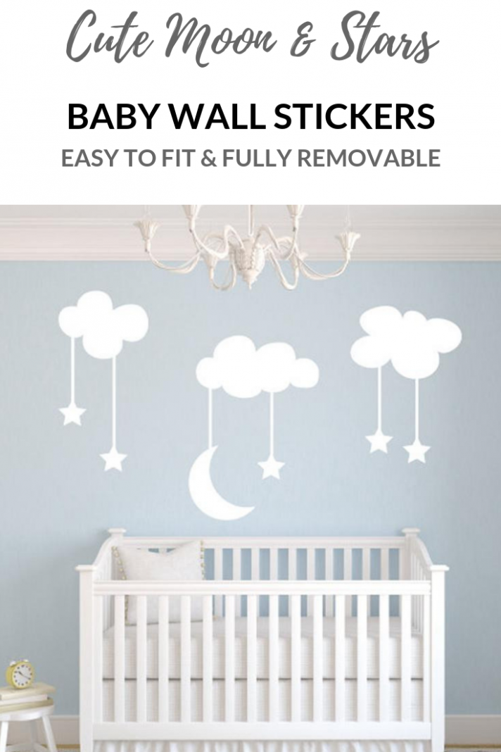 Cutest clouds with moon and stars wall art decals for a nursery ..