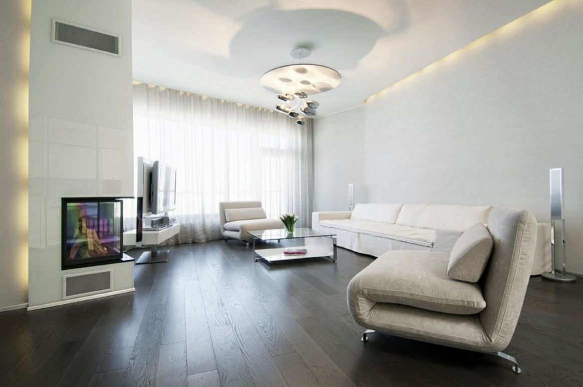 Dark Floor White Walls Living Room Design Artnak intended for ...