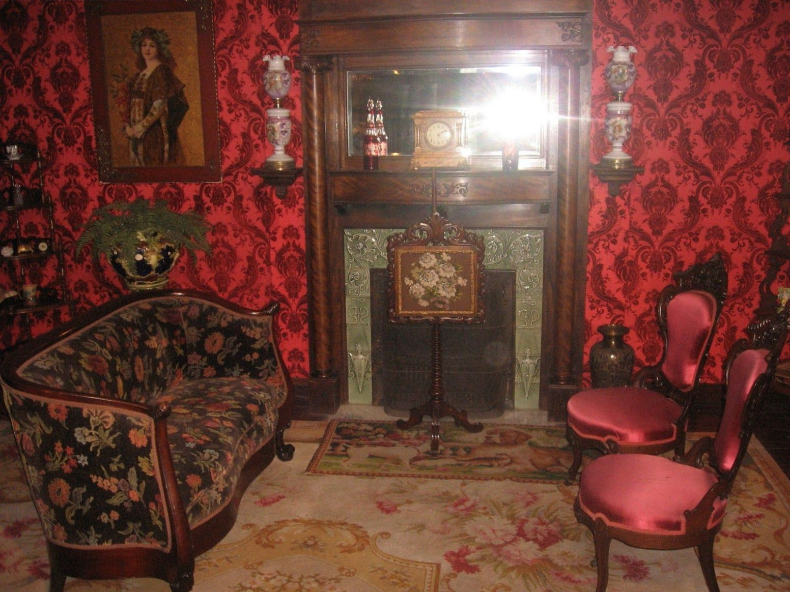 Dark Gothic Victorian Living Room With Red Color Wall Ideas in ...